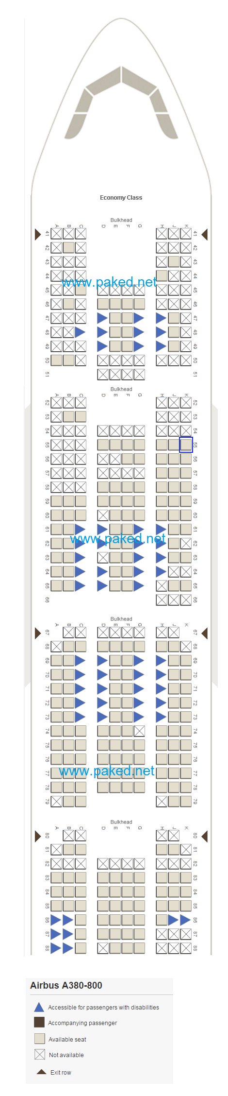 Emirates Seatmap Airbus A380 800 Economy Class
