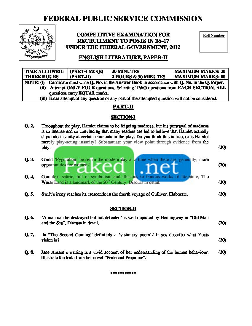 CSS Past Paper 2012 - English Literature - II