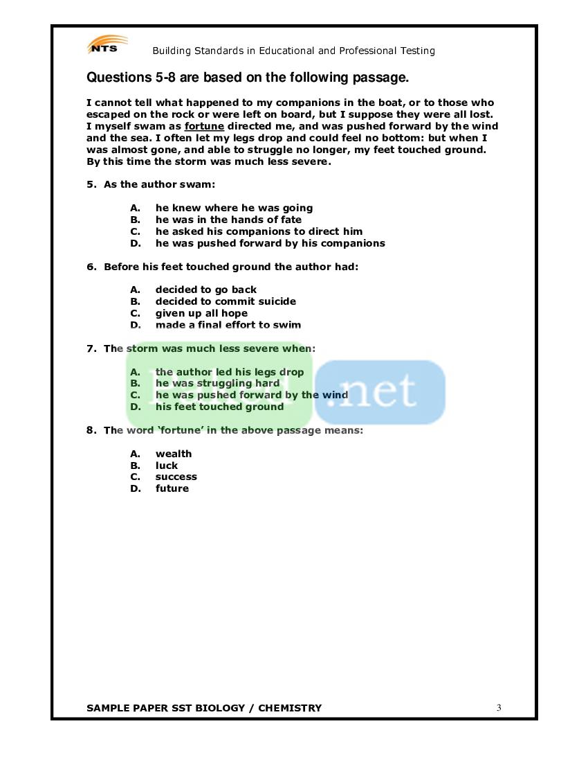 NTS - SST (Biology-Chemistry) Sample Paper