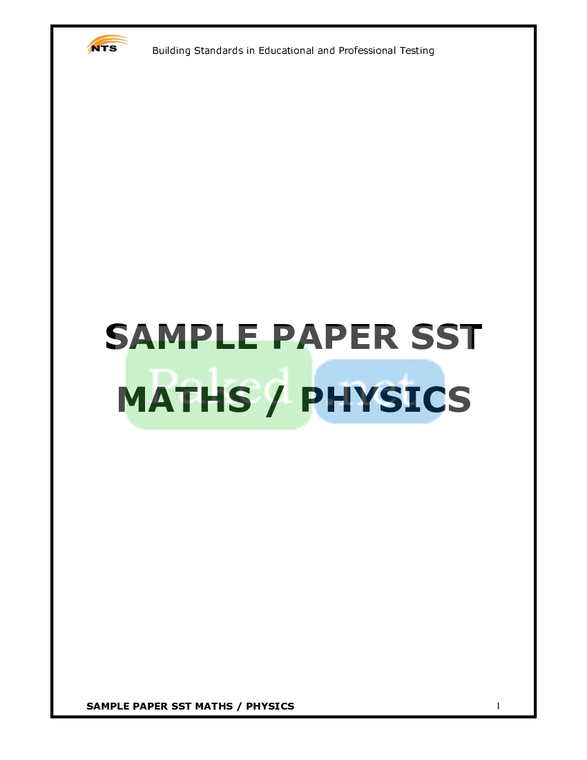 NTS - SST (Maths-Physics) Sample Paper